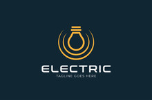 Electric Logo, Light Bulb Icon Isolated On Black Background, Flat Style Logo Design Template, Vector Illustration