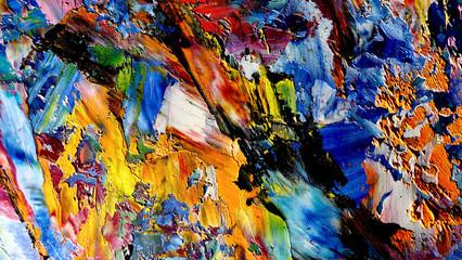 Šarene pozadine apstraktne pozadine. Suvremeni motiv vizualna umjetnost. Smjese uljne boje. Trendi ručno slikanje platna. Zidni dekor i zidne grafike Ideja. 3D tekstura