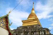 The Upper Part Of Wat Phra That Chang Kham Worawihan Temple's Viharn And Main Chedi In Nan Province, Northern Thailand