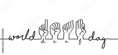 Fotografie, Obraz Hand spelling Deaf sign language signs Slogan world deaf day line patern backgro