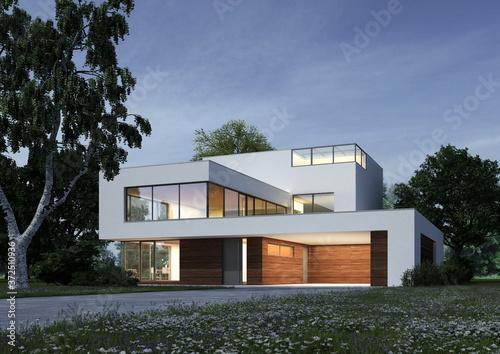 Moderne Villa am Abend Canvas