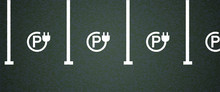 Slogan E Charging Point Symbol. Electric Cable Plug, Battery Charger For E-bike, Bicycle, Car Or Scooter Parking, Power Station Signs. Flat Vector Vehicle Plugging Signs.