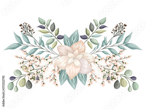 Foto white flower with buds and leaves painting design, natural floral nature plant o