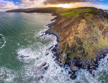 Aerial View Of Kinnagoe Bay In...