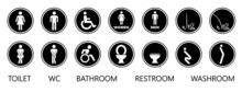 Wc World Toilet Day. Bathroom Or Restroom Icons. Funny Vector Pissing Signs. For Handicap People, Woman, Man Or Gender To Peeing Pictogram. Human Handicap Toilets Seat   With Wheelchair Logo.