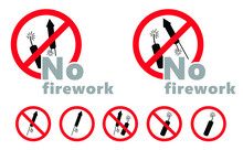 Forbidden, No Firework Background Sign. Do Not Fireworks In The Night. Stop Halt Allowed, No Ban. Forbid For Party, Festival And Event Sign.  Do Not Enter, Illegal Fire Work Symlol