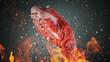 Leinwandbild Motiv Close-up of flying tasty raw beef steak on black stone background, fire flames in foreground
