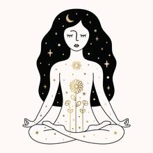 Woman Meditating Illustration In Vector.