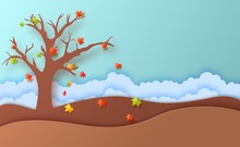 Autumn Season Fall Leaves And Cloudy Landscape In Paper Art Style. In Autumn Time, Silhouette Tree And Hill Are Papercut Art. Vector 3d Illustration Cut Out Of Cardboard