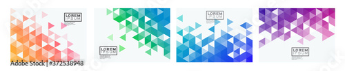 Set of colorful gradient triangle pattern on corner position with white space Fototapet