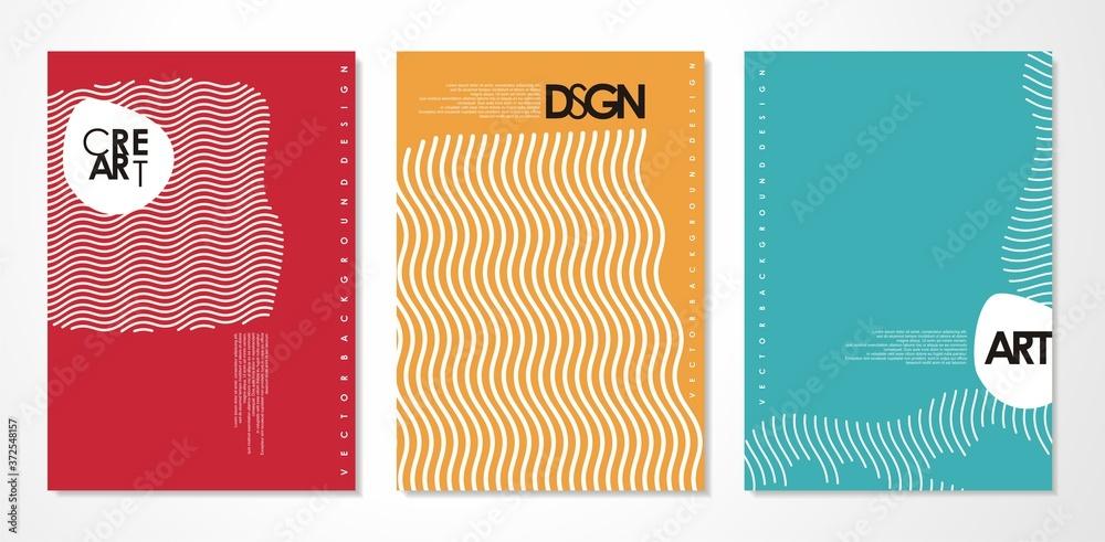 Fototapeta Abstract covers set - minimal banner design - simple line art vector layout