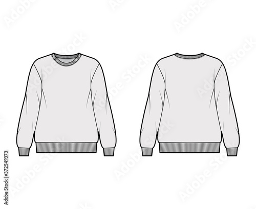 Cotton-terry oversized sweatshirt technical fashion illustration with relaxed fit, crew neckline, long sleeves Fototapet