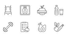 Vector Diet Icons. Linear Icon Slimming Weight Loss Editable Stroke. Slim Waist Scales Water, Apple Measurement Sport Fitness Exercise. Diet Compilation Calorie Count Vegetables Avocado Fruits