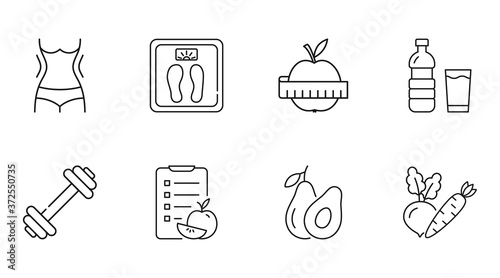 Obraz Vector diet icons. Linear icon slimming weight loss editable stroke. Slim waist scales water, apple measurement sport fitness exercise. Diet compilation calorie count vegetables avocado fruits - fototapety do salonu