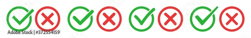 Fototapety, obrazy: Check Mark Cross Circle Icon Green Red | Checkmark Checklist Illustration | Tick X Symbol | Voting Logo | Positive Negative Sign | Isolated | Variations