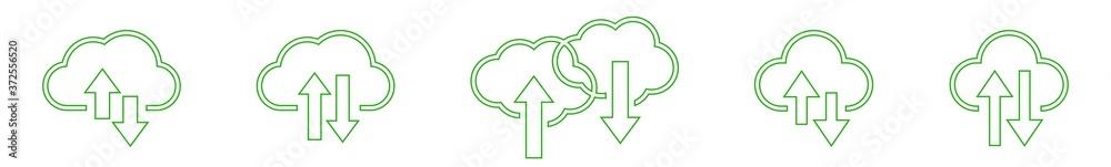 Fototapeta Cloud Upload Download Icon Green Line | Clouds Arrow Up Down Illustration | Computing Storage Symbol |  Server Data Internet Logo | IT Service Sign | Isolated | Variations