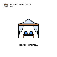 Beach Cabana Soecial Lineal Color Vector Icon. Illustration Symbol Design Template For Web Mobile UI Element.