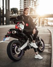 Beautiful Girl In A Black Moto...