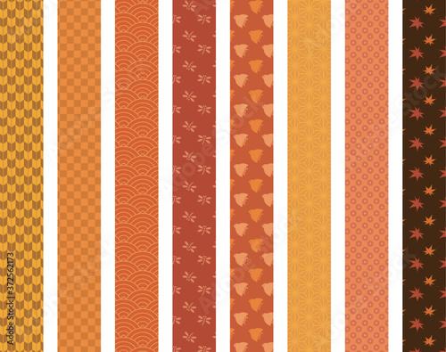 Obraz na plátně 秋 和柄模様 帯 仕切り素材