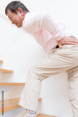 腰痛のシニア男性 Canvas Print