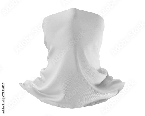 Foto White Neck gaiter mockup, Blank Fabric necker dust proof 3d Rendering isolated o