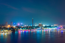 Egypt, Cairo, Nile With Cairo Tower On Gezira Islandat Night