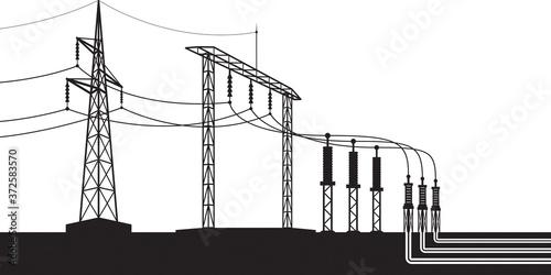 Overground and underground electricity transmission grid – vector illustration Fototapet