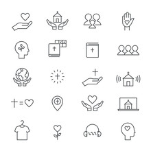 Christian Community, Church And Ministry Line Icons. Flat Vector Design