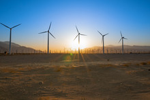 Palm Springs Wind Turbines In The Desert At Sunset