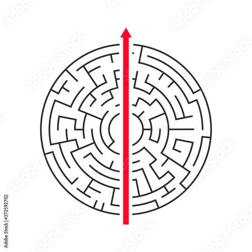 Fototapeta Straight arrow going right through maze on white background.