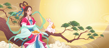 Mid Autumn Chang E Sits On A Branch