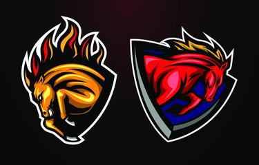 Mascot mustang horse head logo concept