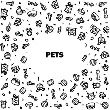 Abstract Doodle Frame Elements Hand Drawn Collection Pets Animal Sketch Vector Design Style Background Dog Cat Bone Food Training Caring Grooming  Illustration Icons
