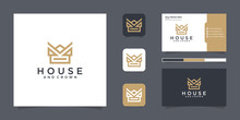 Crown House Logo Design Inspiration With Line Style And Business Card Inspiration