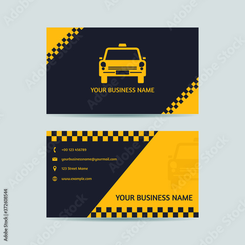Valokuva Yellow taxi driver card  Vector - Business Card