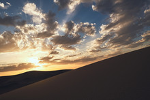 Minimalistic Desert Landscape With Sandy Dunes And Beautiful Sunset With Blue Sky In Hami, Xinjiang In China