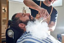 Crop Barber Treating Beard Of ...