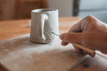 Unrecognizable Ceramist With D...