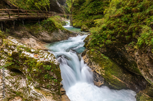 Wide angle view of the Slovenian gorge of Vintgar, with a torrent running betwee Fototapete