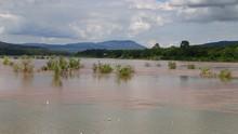 Two-Color River Betwewn Moon River And Mekong River Between At Khongjiam Ubon Ratchathani