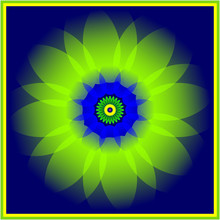 Abstract Blue Green Floral Mandala With Yellow Green Frame