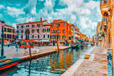 Fototapeta Uliczki - VENICE, ITALY - MAY 11, 2017 :Views of the most beautiful channels of Venice, narrow streets, houses.