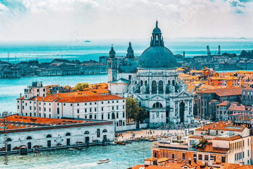 Fototapeta Panoramic view of Venice from the Campanile tower of St