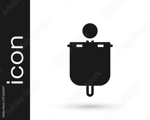Black Medieval flag icon isolated on white background Wallpaper Mural