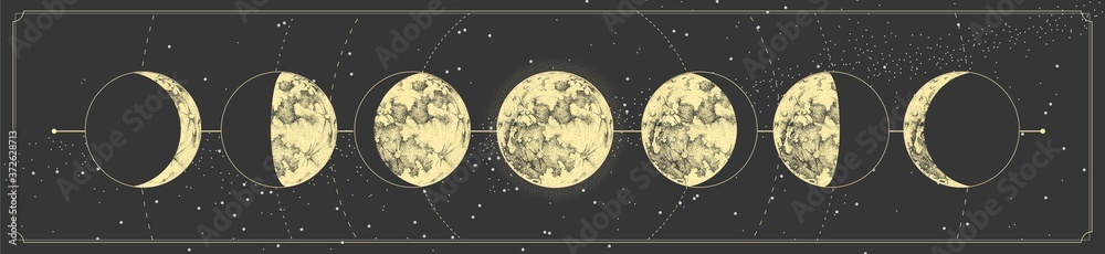 Fototapeta Modern magic witchcraft card with moon phases. Pagan moon symbol. Vector illustration