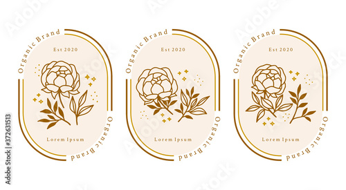 Obraz na plátně Hand drawn gold botanical peony flower element for feminine beauty logo or brand