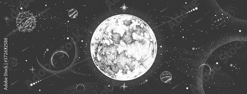 Photo Modern magic witchcraft card with astrology moon on outer space background
