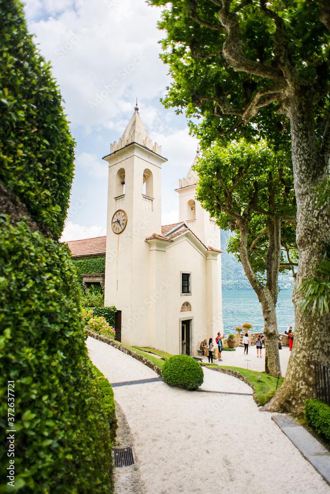 Villa Balbianello. Lake Como. Italy - July 19, 2019: Chapel on Villa del Balbianello. Lake Como. Italy.