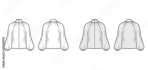 Photo Shirred high-cut neck blouse technical fashion illustration with long bishop sleeve, front button-fastening