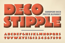 Deco Stipple Art Deco Style Alphabet. This Font Makes Use Of A Classic Vintage Stippled Shading Style Used On European Poster Art In The 1920s And 1930s. The Bold Lettering Has A Heavy Bold Look.